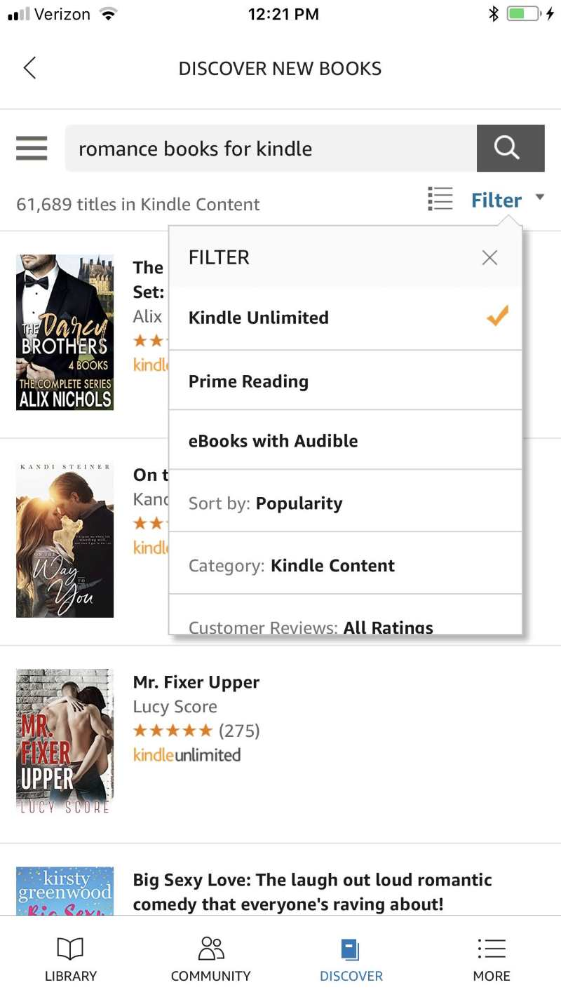 kindle unlimited filter in the app