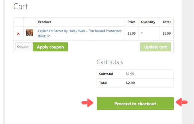 proceed to checkout cart page